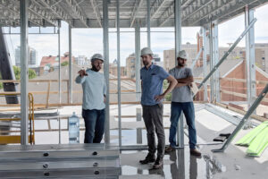 Contractor and architect meet on building site